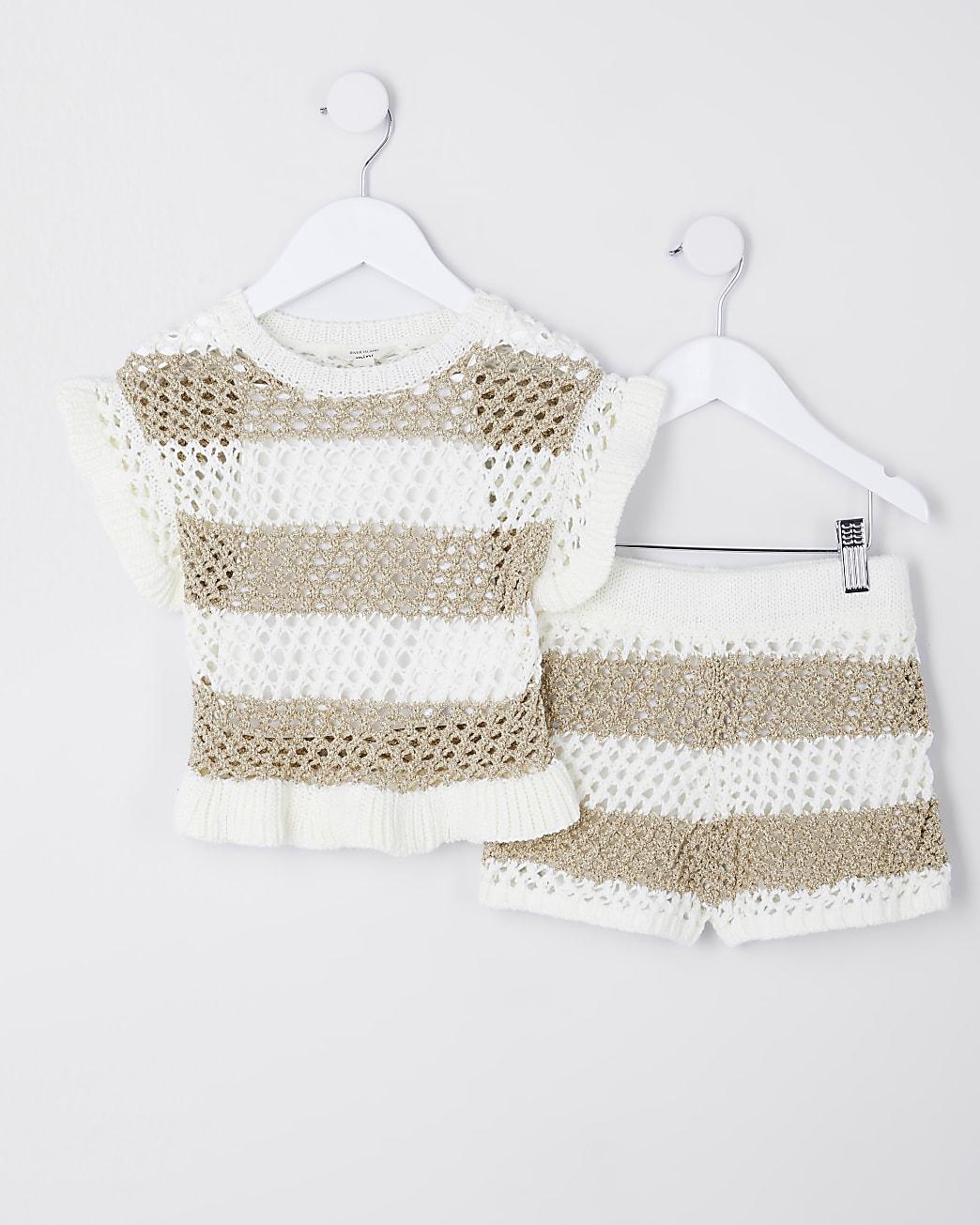 Mini girls gold stripe jumper outfit