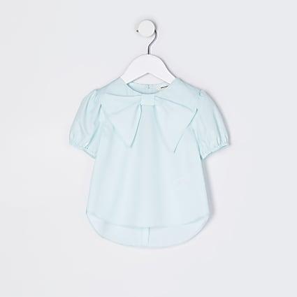 Mini girls green bow blouse top