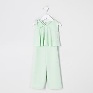 Mini - Groene jumpsuit met strik op schouder voor meisjes