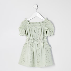 Mini - Groene broderie jurk met pofmouwen voor meisjes