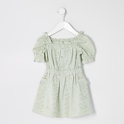 Mini girls green broderie puff sleeve dress