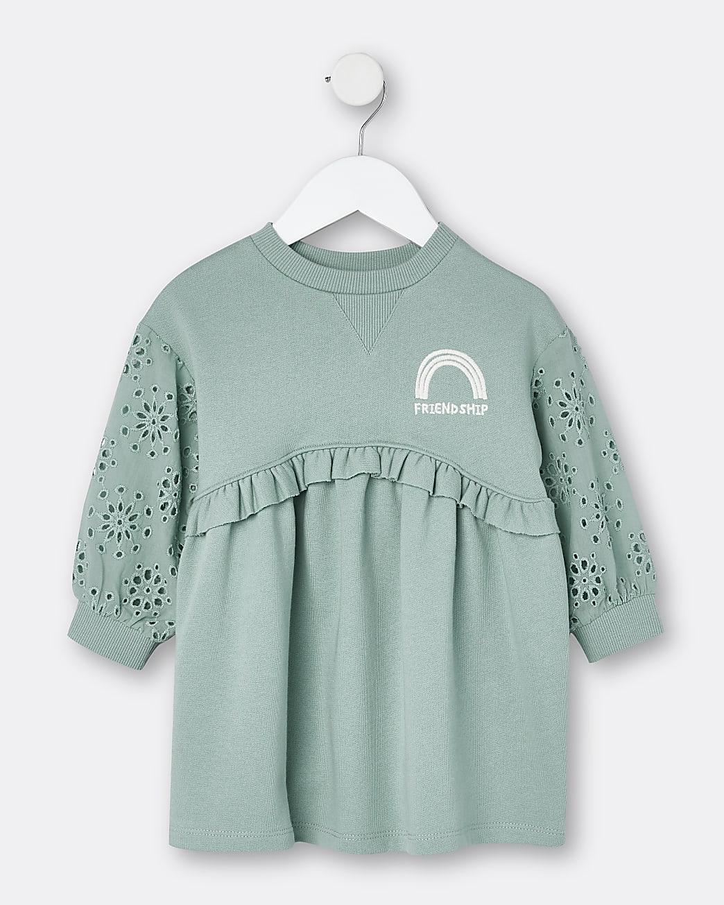 Mini girls green broderie sweater dress