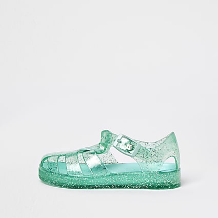 Mini girls green caged jelly sandals