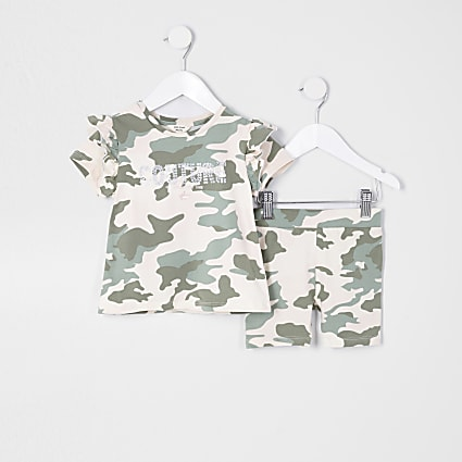 Mini girls green camo 'Couture' Outfit