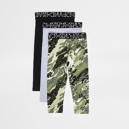Mini girls green camo print leggings 3 pack