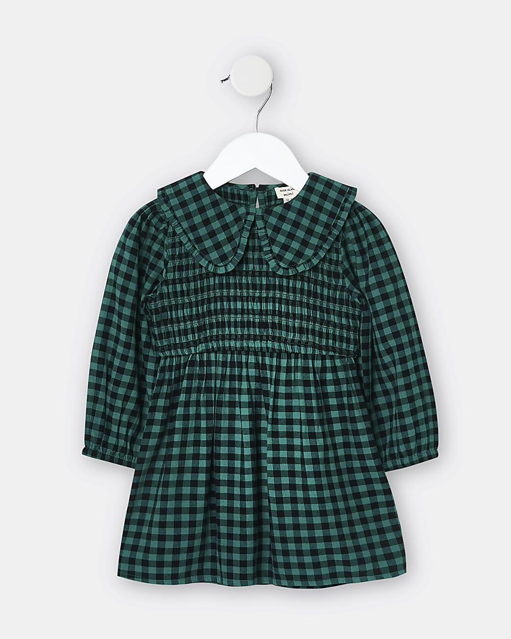 Mini girls green check collar dress