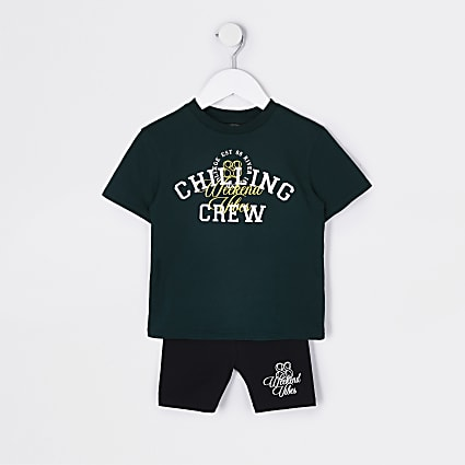 Mini girls green 'Chilling Crew' t-shirt set