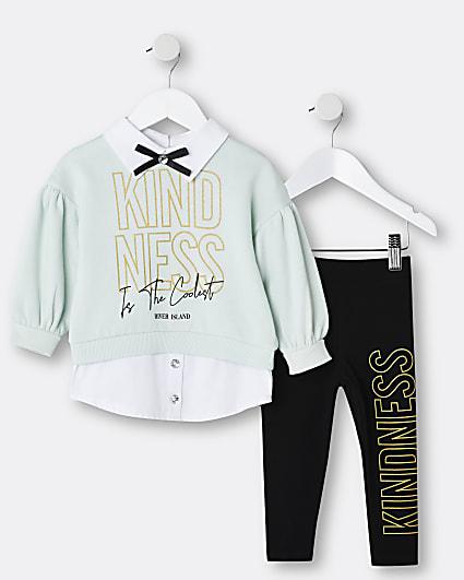 Mini girls green collar sweatshirt outfit