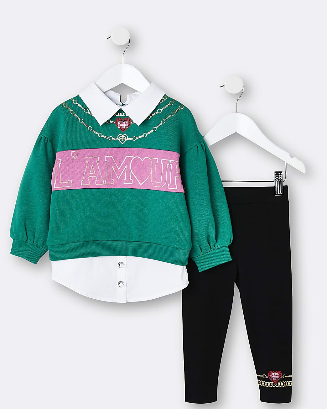 Mini girls green collared jumper and leggings
