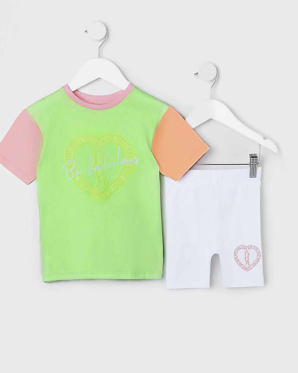 Mini girls green colour blocked t-shirt set