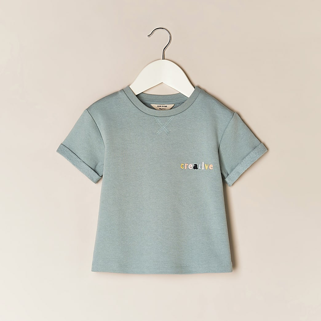 Mini girls green 'Creative' t-shirt