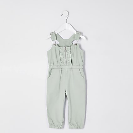 Mini girls green denim ruffle front jumpsuit