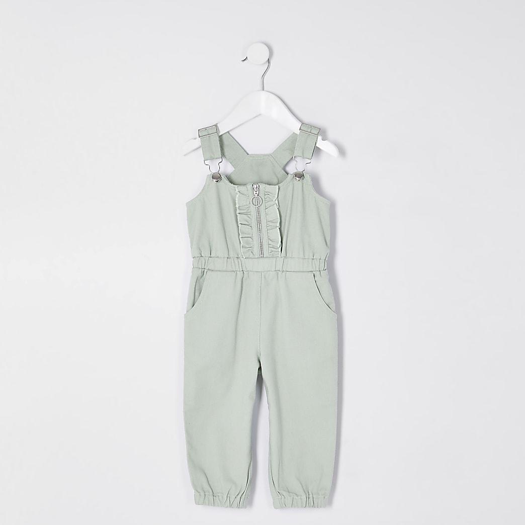 Mini girls green denim ruffle front jumpsuit
