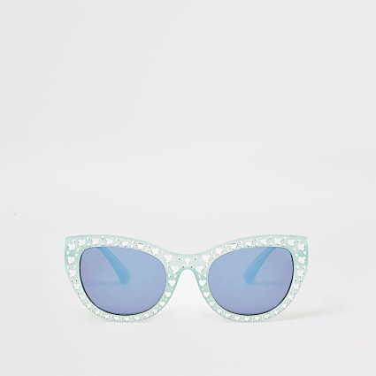 Mini girls green embellished glam sunglasses