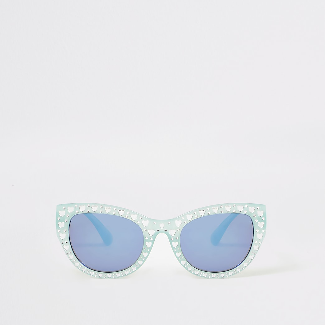 Mini girls green embellished glam sunglasses