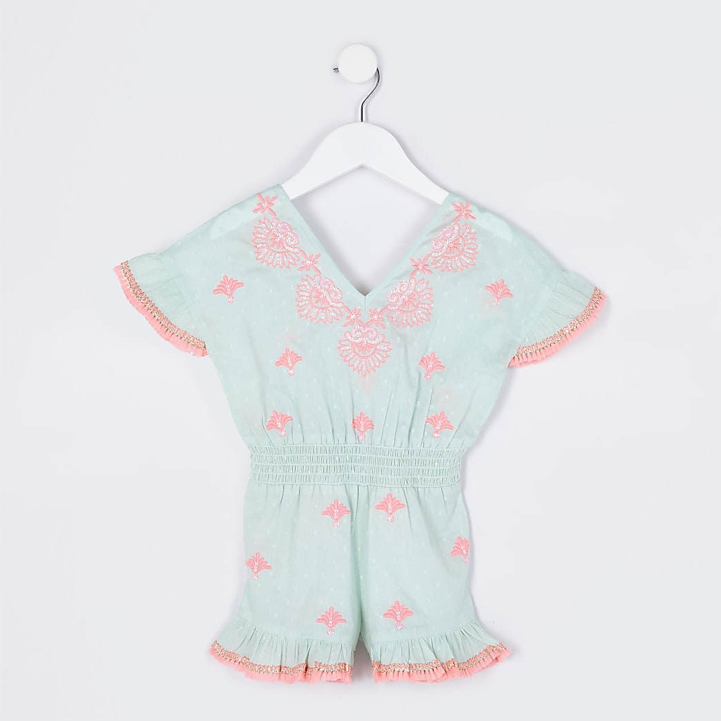 Mini girls green embroidered beach playsuit