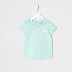 Mini – Grünes T-Shirt mit Rüschenausschnitt für Mädchen