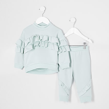 Mini girls green frill scuba outfit