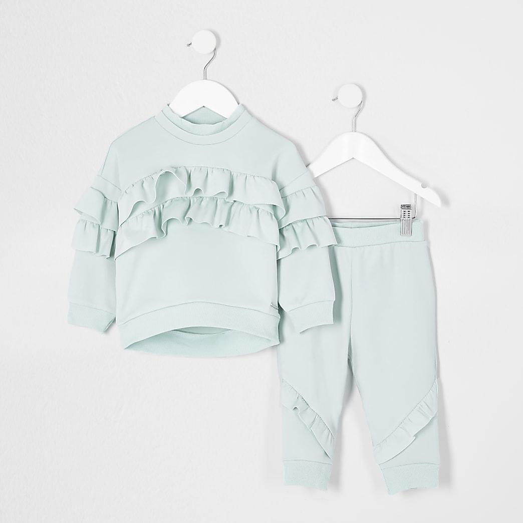 Mini girls green frill scuba outfit