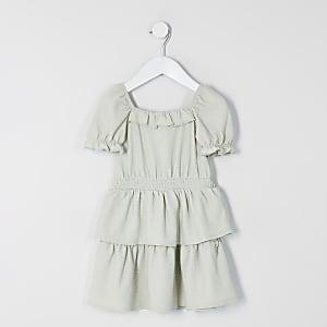 Mini–Grünes Gürtelkleid mit Rüschenärmeln im Skaterstil für Mädchen