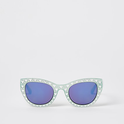 Mini girls green jewel embellished sunglasses