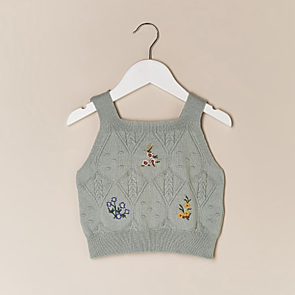 Mini girls green knitted cami top