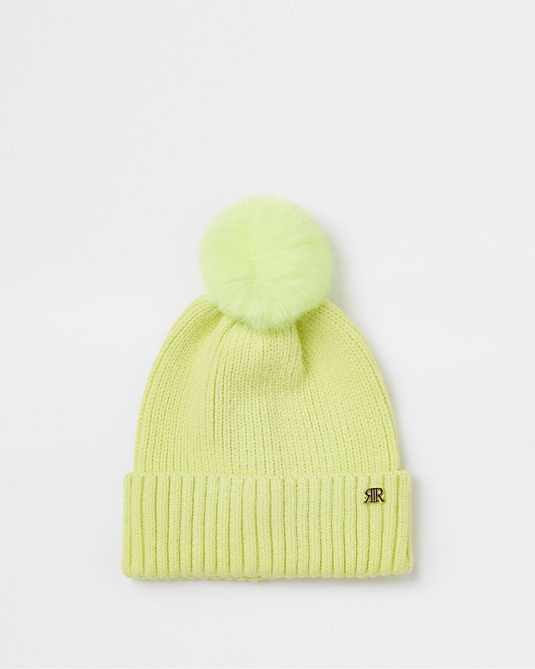 Mini girls green neon pom pom beanie hat