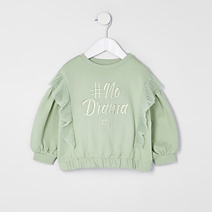 Mini girls green '#No Drama' sweatshirt