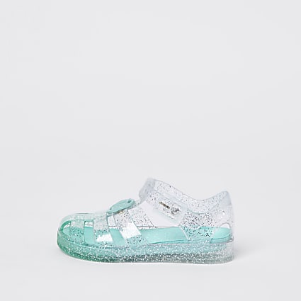 Mini girls green ombre caged jelly sandals