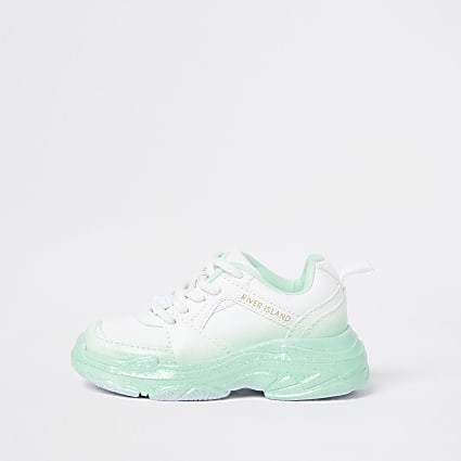 Mini girls green ombre glitter trainers
