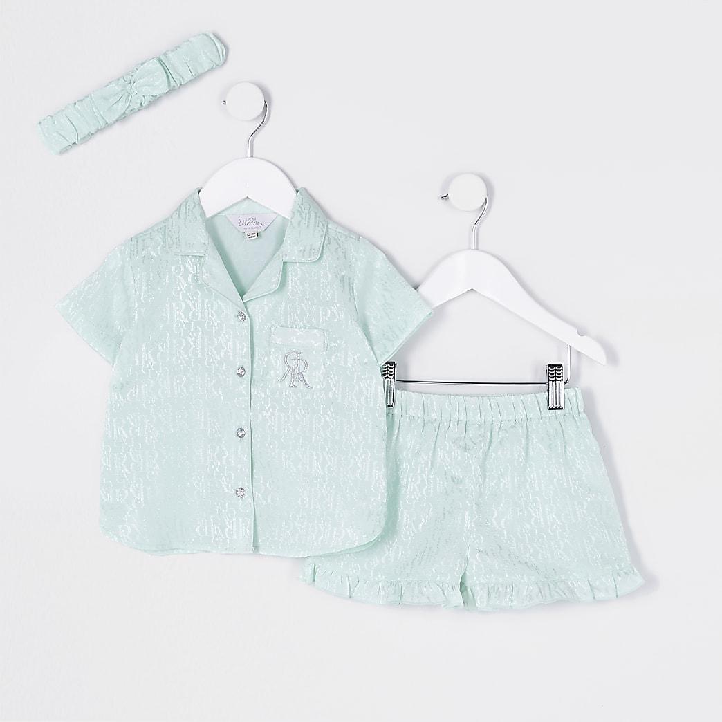 Mini girls green RI monogram satin pyjamas