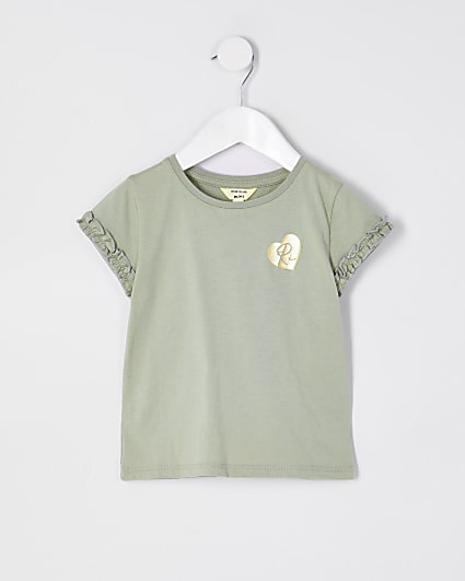 Mini girls green RI ruffle sleeve t-shirt