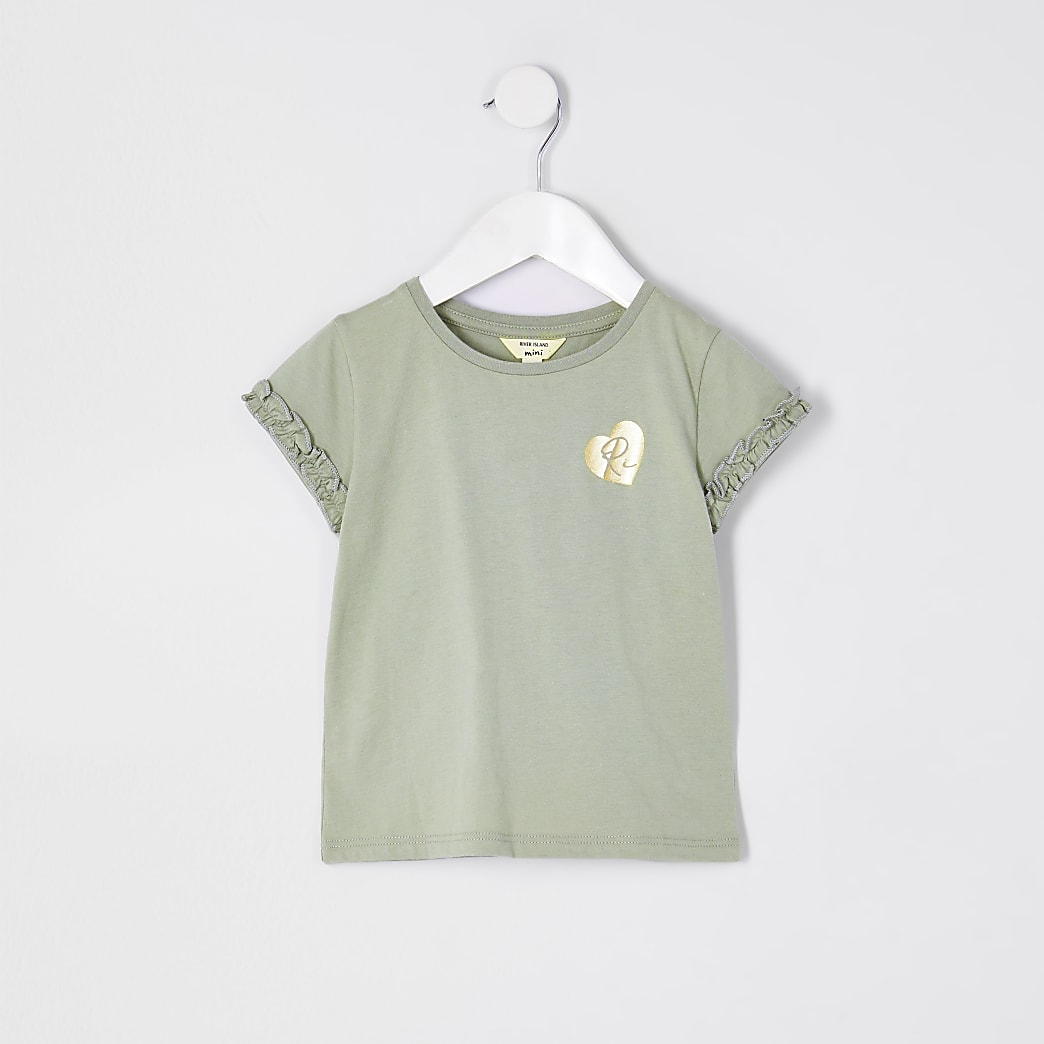 Mini girls green RI ruffle sleeve t-shirt