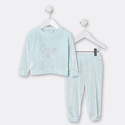 Mini girls green RI velour pyjama 2 piece set