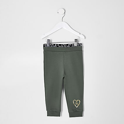 Mini girls green RI waistband joggers
