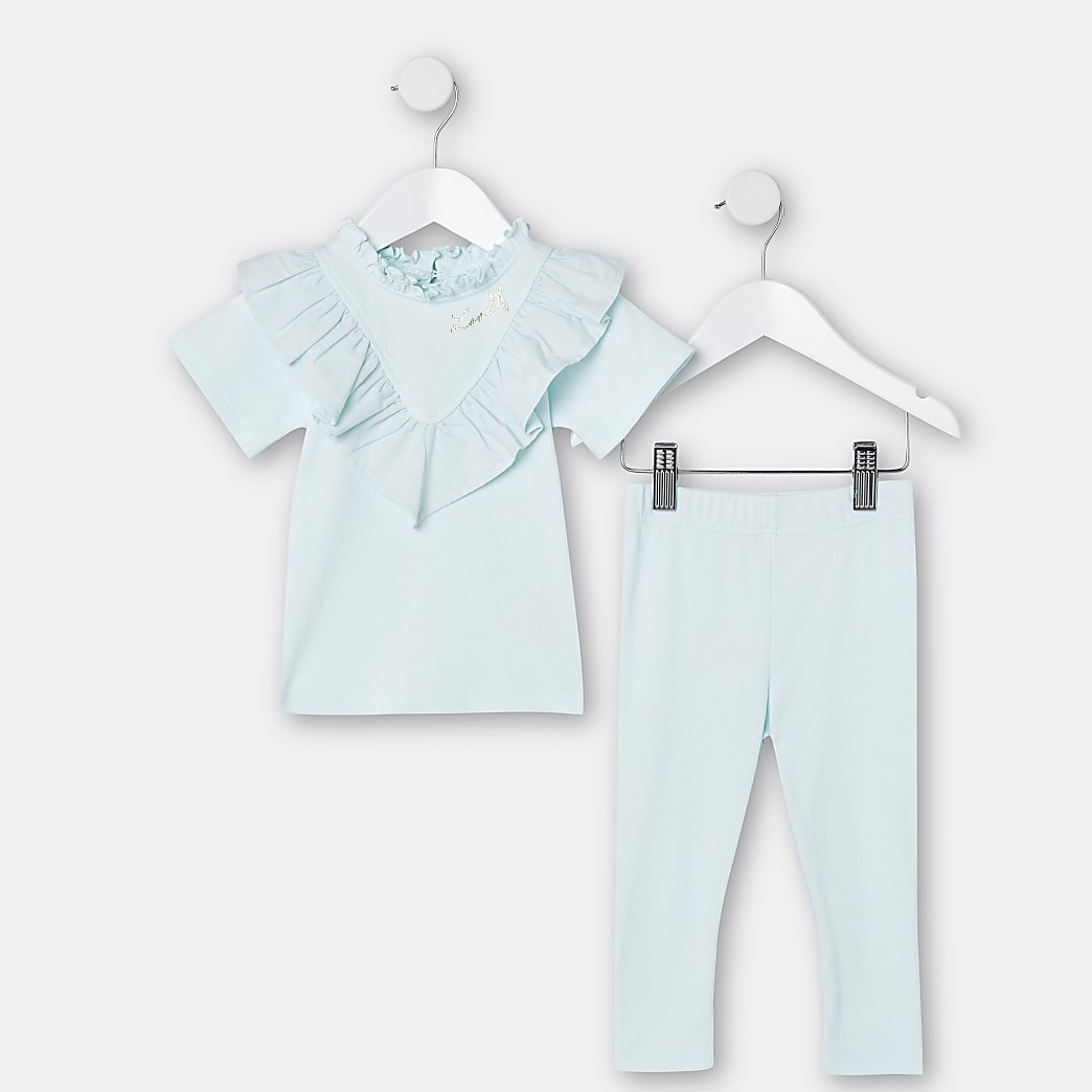 Mini girls green ribbed frill t-shirt outfit