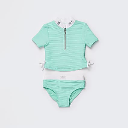 Mini girls green ribbed RVR swim set