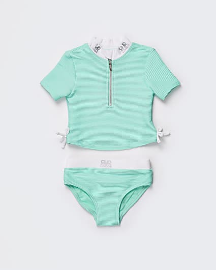 Mini girls green ribbed RVR swim set