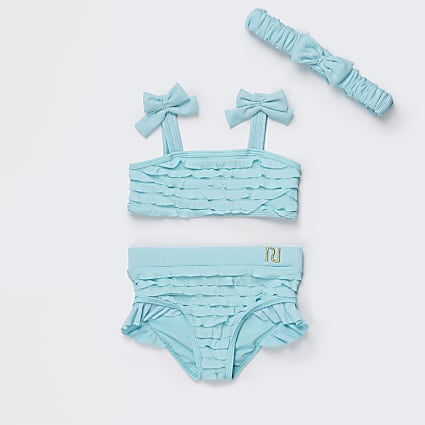 Mini girls green ruffle bikini set