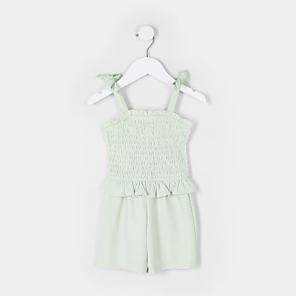 Mini girls green shirred frill hem playsuit