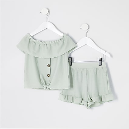 Mini girls green textured frill top outfit