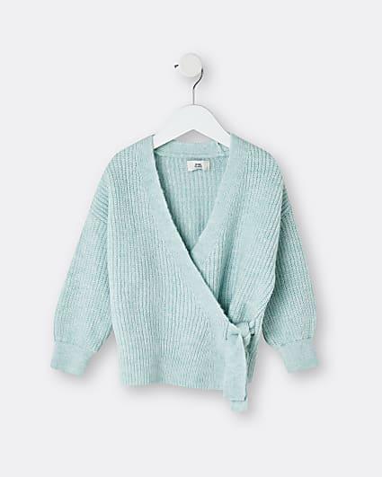 Mini girls green tie waist knit cardigan