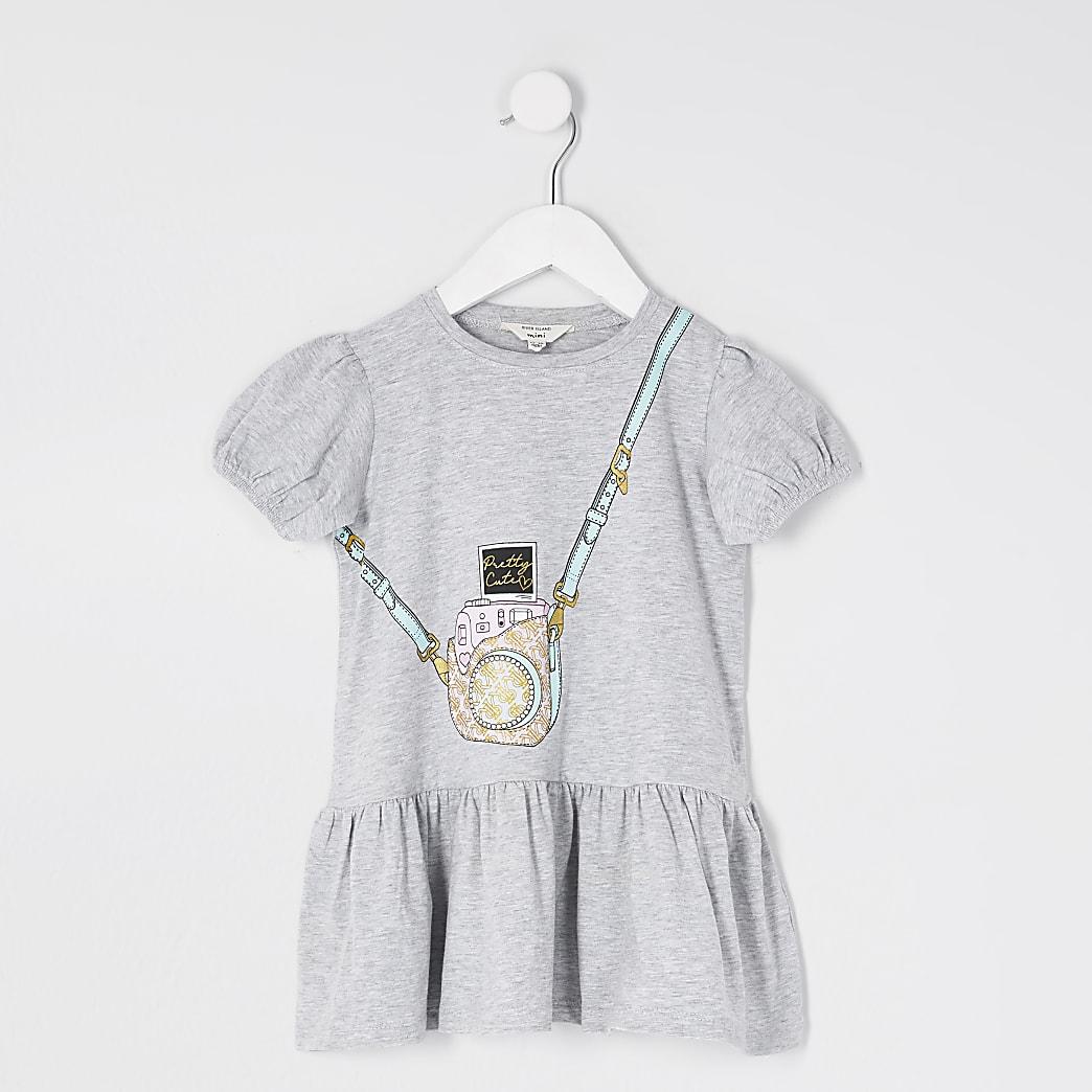Mini girls grey bag print smock dress