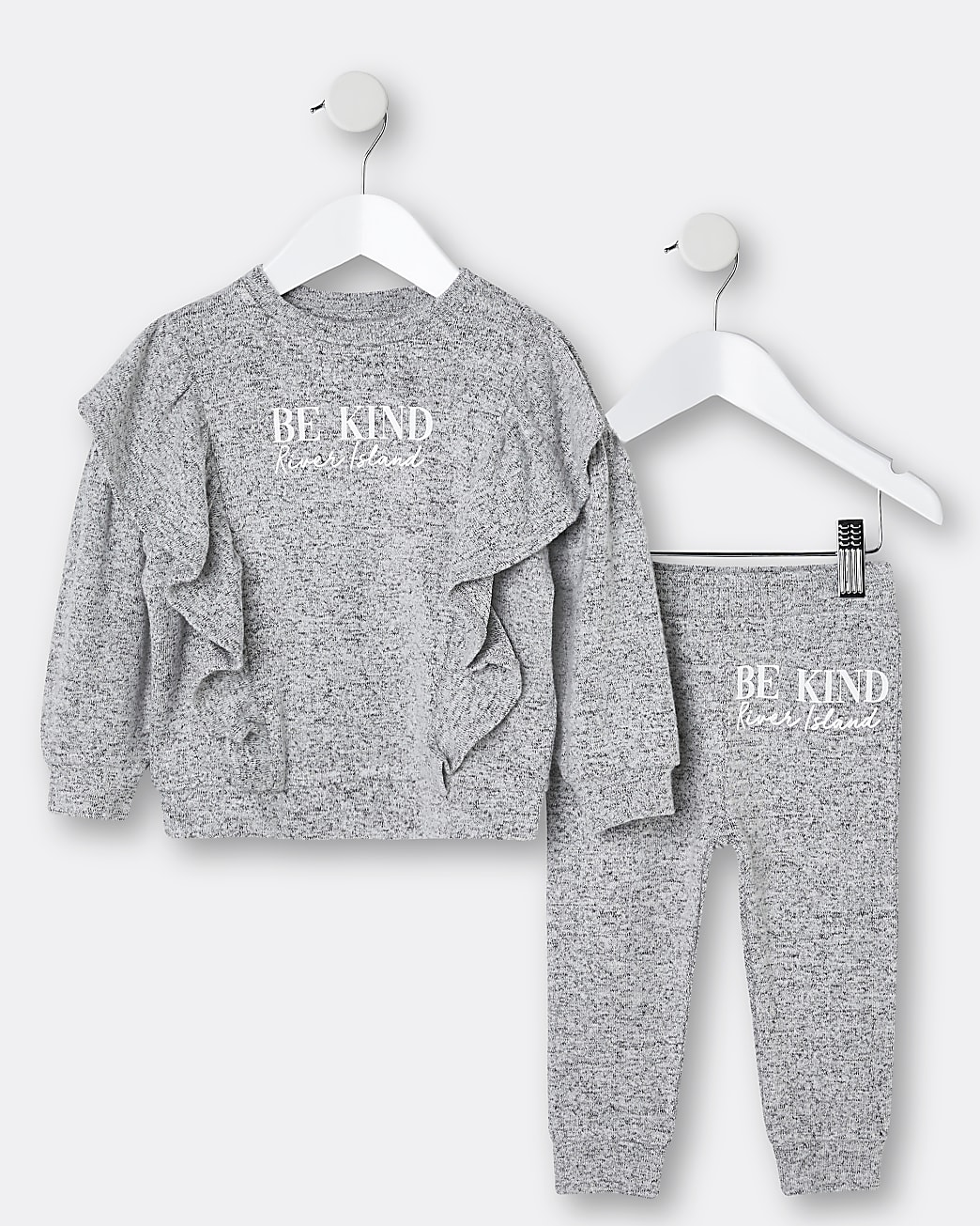 Mini girls grey 'Be Kind' cosy jogger outfit