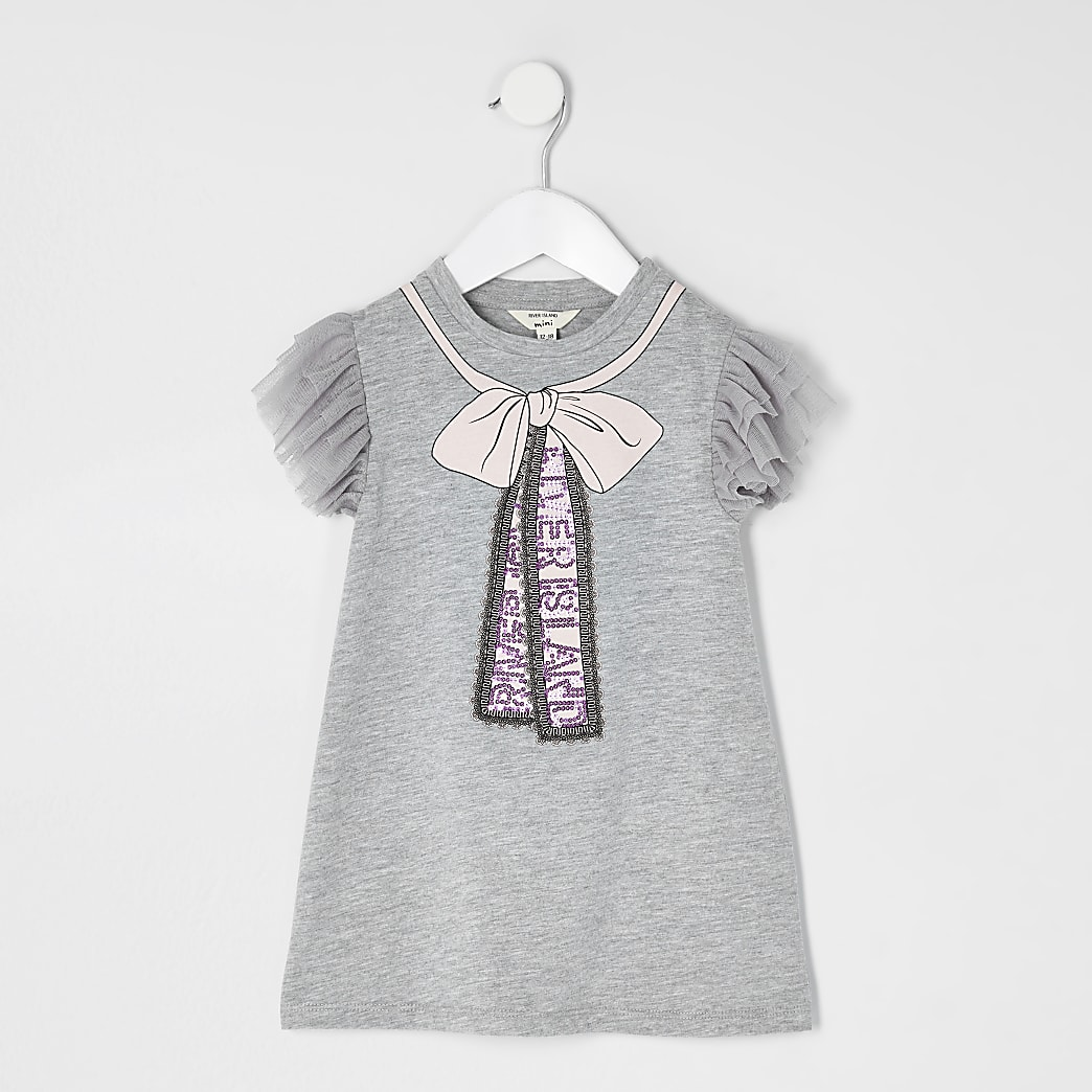 Mini girls grey bow oversized T-shirt dress