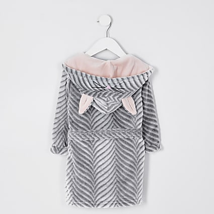 Mini girls grey bunny ear dressing gown