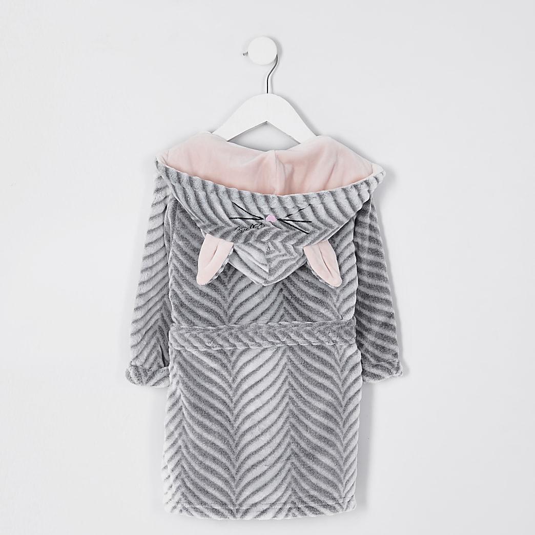Mini girls grey bunny ear dressing gown
