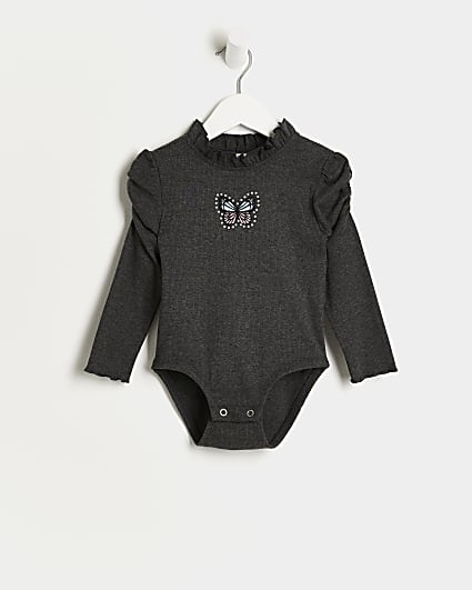 Mini girls grey butterfly rib bodysuit