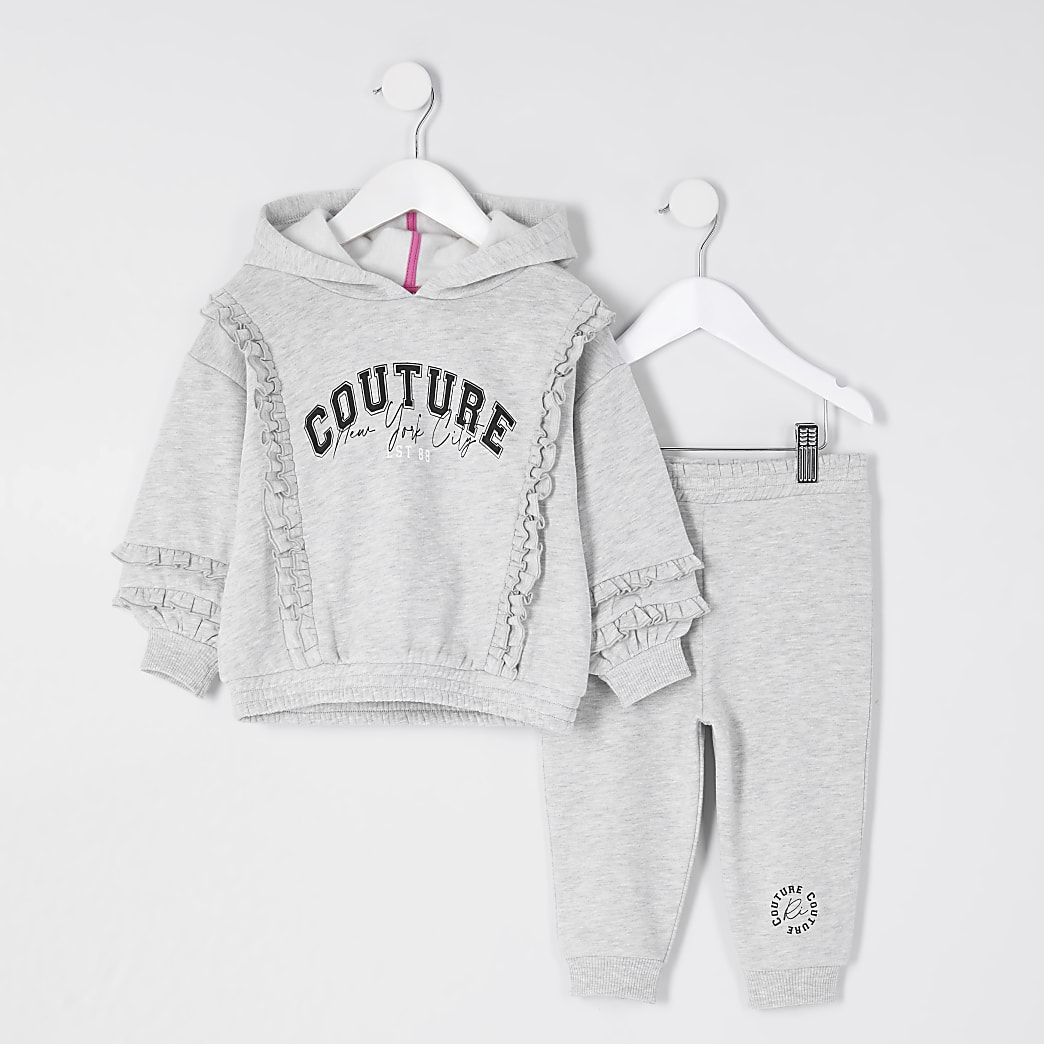 Mini girls grey 'Couture' print outfit