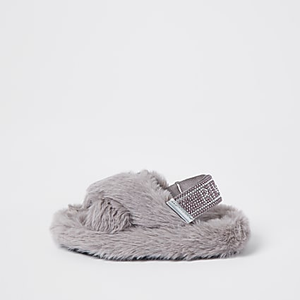 Mini girls grey crossover diamante slippers